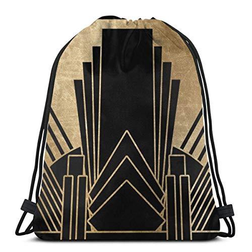 XCNGG Art Deco Design Gym Bag Travel Drawstring Backpack Men & Women Sport Bag Portable Storage Bag for Camping Hiking Swimming Shopping Beach Travel