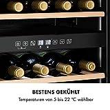 Klarstein Vinamour - Weinkühlschrank, Unterbau/Einbau, EEK A, Touch Control, freistehend, 2 Kühlzonen, Volumen: 80 Liter, 29 Flaschen, Kühltemperatur: 5-22 °C, schwarz - 6