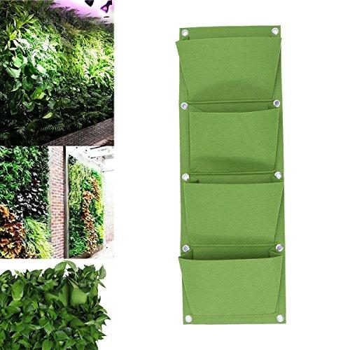 Yardwe Fioriera a Parete Verticale 4 Fioriera da Parete a Tasca per Piante grasse e Erba,appesi a Non Tessuto per Giardino Decorazione Domestica (Verde)