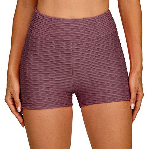 LZJDS Mallas Pantalones Deportivos Leggings Mujer Yoga de Alta Cintura Texturizado Shorts Elásticos y Transpirables para Yoga Running Fitness,9 Colores sólidos,S-XL (2 Piezas),Sauce Purple,Large