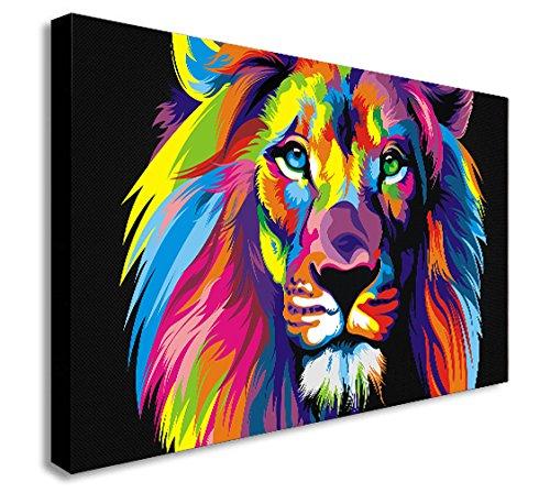 Impression sur toile murale, Lion en style Pop art abstrait,...