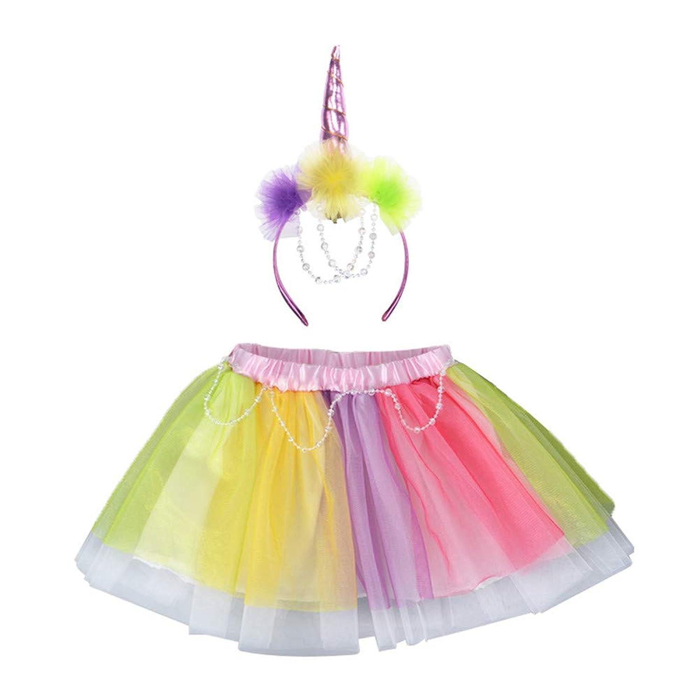女の子のパーティードレス 女の子セットレインボーユニコーンセットユニコーンヘッドバンドショートスカートツーピースセット フォーマルなパーティーの誕生日の卒業プロムのダンスのボールのドレスドレス (サイズ : 8T)