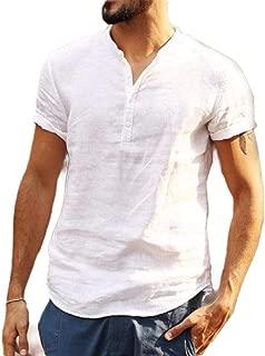 AngelSpace Men's Shirt Short Sleeve Mandarin Collar Cotton Linen Tee Shirt