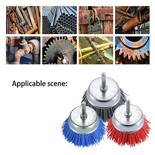 TILAX 3 Inch Abrasive Wire Cup Brush Assorted Cup Brushes 3 Pcs, Nylon Cup Brush for Drill 1/4