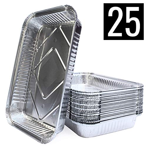 Mamatura 25 XL-Aluminium-Tropfschalen | 25 Aluschalen | 32 x 22 cm, 2100 ml | groß, rechteckig, hitzebeständig