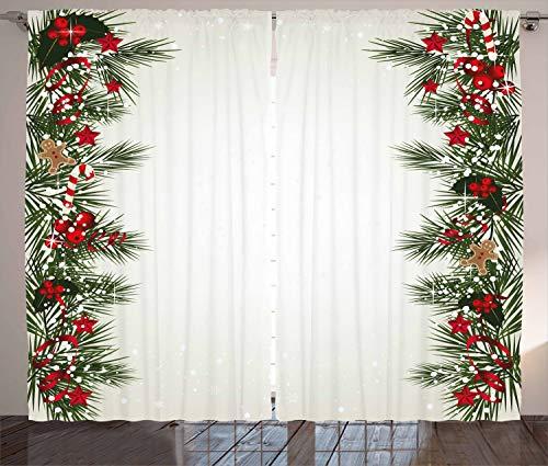 ABAKUHAUS Weihnachten Rustikaler Gardine, Silvesterzauber, Schlafzimmer Kräuselband Vorhang mit Schlaufen und Haken, 280 x 245 cm, Mehrfarbig
