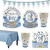 Amycute Festa di Compleanno per Baby Shower, It's A Boy Gender Reveal Stoviglie Include Piatti, Tazza, Tovaglioli, Tovaglia, Banner(Blu)