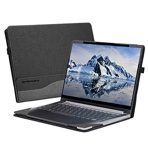 """Honeymoon Case for Lenovo Yoga C940 14Inch,PU Leather Folio Stand Protective Hard Shell Case Cover Compatible with Lenovo 2019 Yoga C940 14""""[Warning:Not fit Lenovo Yoga 900/910/920/C930],Black"""