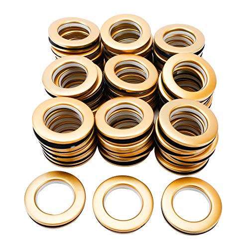 Finderomend Curtain Grommets 48Pack 1-9/16 Inch(40mm) Inner Diameter Curtain Eyelet Grommets Matte Rings Nanoscale Low Noise Roman Ring for Window Curtain,Locker Room Door Curtains (Gold) (Gold)