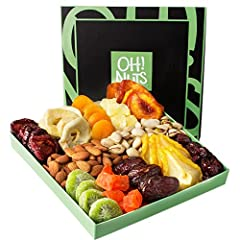 """BEST SELLING DRIED FRUIT AND NUTS GIFT ARRANGMENT: WOW your guests with our signature Oh! Nuts Gift box filled to the brim with """"12"""" varieties of healthy goodies. The lidded container is features an assortment of twelve HIGH-QUALITY GRADE A DRIED FRU..."""