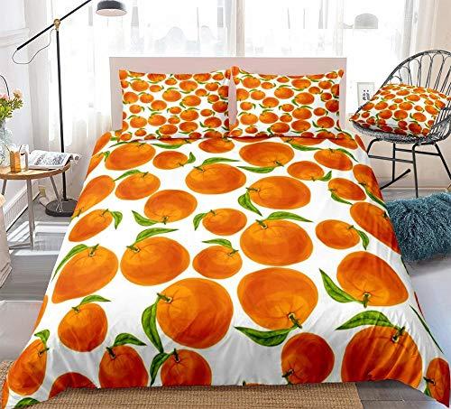 Prinbag Tropical Fruits Bettwäsche Set Bunte Bettbezug Set Orange Home Textile für Kinder Erwachsene Schlafzimmer Dekor 220x240cm