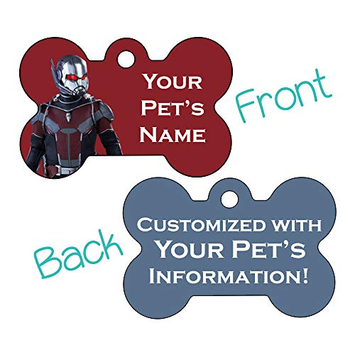 Marvel Disney Double Sided Pet Id Dog Tags | Personalized for Your Pet (Ant Man, Bone Shaped)