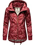 Ragwear Damen Übergangs-Jacke Outdoorjacke mit Kapuze leicht Danka Leaves Wine Red Gr. XXL