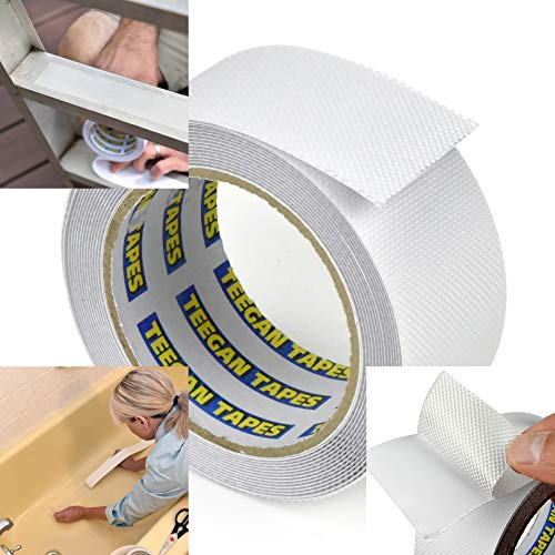 Teegan Tapes - Clear Grip & Friction Anti Slip Tape for Steps, Walkways, Decks, Bathtubs, Equipment, Wheelchair Ramps & More | Easily Cut Into Custom Size Strips for Traction | Home & Industrial