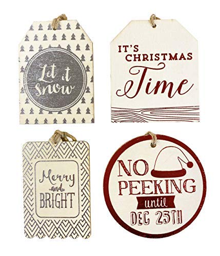 Gift Tags Christmas 4 Pack Assorted for Present Wrapping Accessories Decorative Paper Wrap Wooden Cream Red Silver Foil Seasonal Greetings Text Design with Brown String
