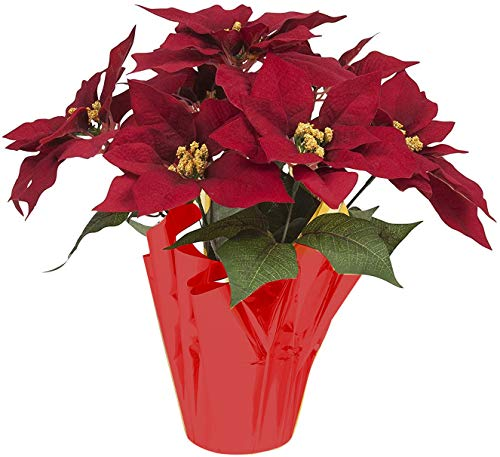16 Inch Poinsettia Flowers Plant Pot Artificial Red Christmas Poinsettias Silk with Gold Foil Wrap for Home & Garden Decorations
