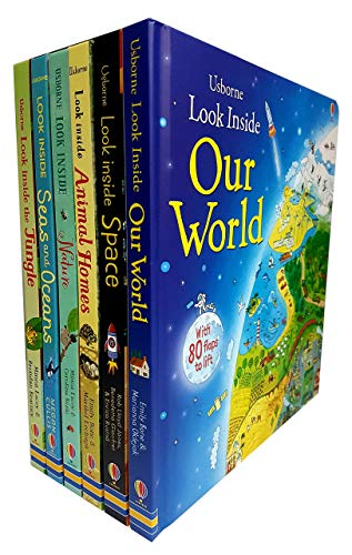 Usborne Look Inside Our world 6 Books Collection Pack Set ( Seas and Oceans, Nature,Our World,Animal Homes,Jungle,Space)