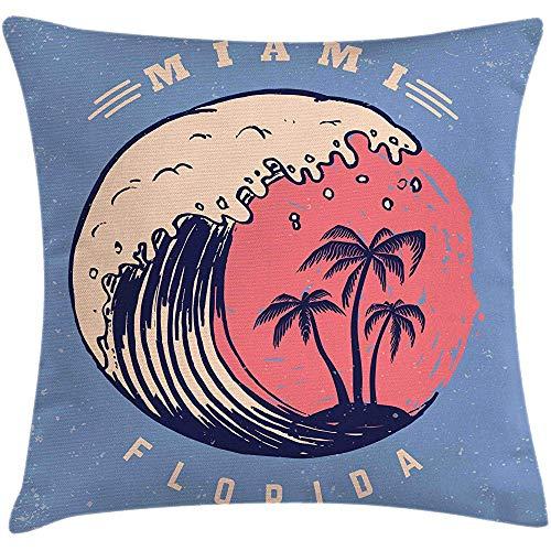 4 Stück 18X18 Zoll Florida Beach Throw Pillow Kissenbezug,Poster Layout Von Ocean Waves Und Palmen,Home Decor Square Akzent Kissenbezug