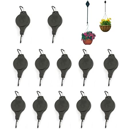 12Pcs Retractable Plant Pulley, Adjustable Heavy Duty Hanging Hooks Ornament Plant Hangers for Home Garden Hanging Planters, Hanging Basket Flower Baskets and Bird House (12 pcs)