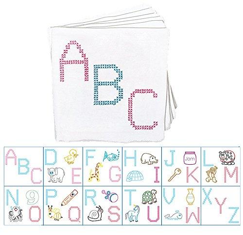 Jack Dempsey Mélange de Coton poinçonné Chiffon Chambre d'enfant Livres 20,3 cm X 20,3 cm 12 Pages-ABC