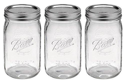 Ball Mason Jar-32 oz. Clear Glass Ball Wide Mouth - Set of 3