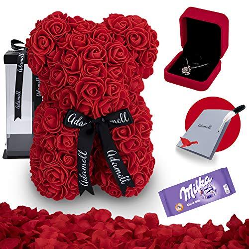 Rosen Teddybär 25cm mit geschenkbox, einzigartiges geschenk für frauen, freundin, kinder - Exklusiver Rosenbär zum Muttertag, Geburstag & Jahrestag - Blumen Teddy Bär mit love Halskette (5 in 1) Rot