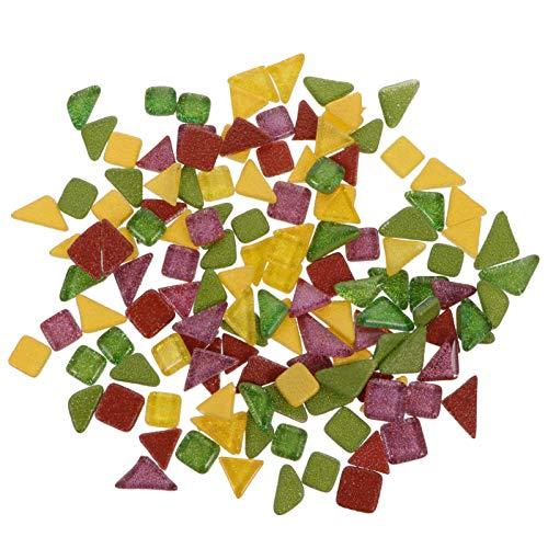 Yardwe Azulejos de mosaico de vidrio de 200 g de brillo de mosaico de cristal piezas de fichas, jarrones de fotos, macetas de mosaico, piezas para manualidades, decoración del hogar y artes