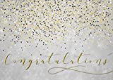 Congratulations Greeting Cards - C2002. Greeting Card with Falling Confetti on a Gray Background and a Golden Congratulations Message. Box Set Has 25 Greeting Cards and 26 Bright White Envelopes.
