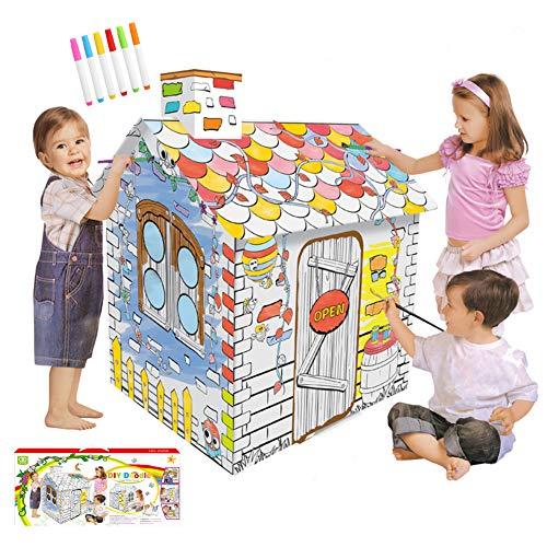 STKASE Casa De Juegos De Cartón Princesa Casa De Cartón para Pintar Casa Juguete De Cartón,Casa De Juguete De Cárton para Exteriores, Tamaño: 79 * 63 * 109Cm