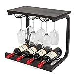 Soduku Wine Rack Wall Mounted Handmade Metal & Wood Wine Countertop Rack Wine Storage Shelf with 4 Bottle Cages & 6 Long Stem Glass Holder Espresso