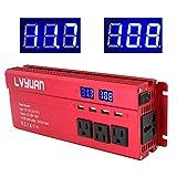 LVYUAN Power Inverter 1000W/2000W 4 AC Outlets and 4 USB Charging Ports DC to AC Inverter 12V to 110V Car Converter DC 12V Inverter with Digital LCD Display