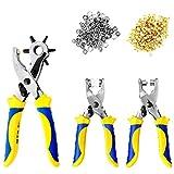 S&R Fustellatrice/Occhiellatrice/Perforatrice per Cuoio, Teloni, Pelle, Cinture, Jeans. Set con 3 Pinze, 100 occhielli (4mm) e 25 Bottoni borchie a pressione (9mm). Fustelle da 2/2,5/3/3,5/4/4,5 mm