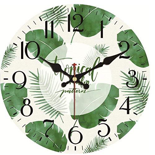Reloj de pared de madera de Mingkk, estilo shabby chic, con hojas verdes, reloj de pared vintage, reloj de pared silencioso, 30 cm