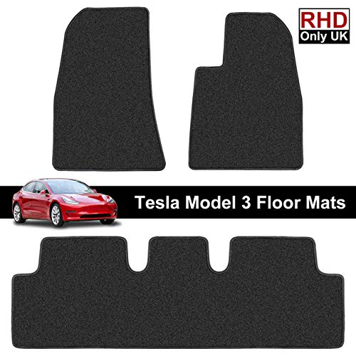 Printers Jack RHD Tesla Model 3 Floor Mats Right Hand Drive All Weather Backing Custom Fit Heavy Duty All Season Eco Friendly Accessories 2019 2020