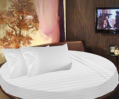 Cama redonda SCALABEDDING rayas 6piezas Juego de sábanas 300TC 100% algodón egipcio doble 80cm de diámetro, color blanco