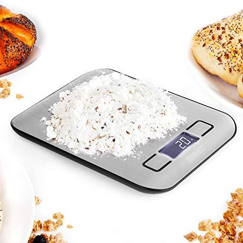 Duronic KS1007 Báscula Digital para Cocina de Acero inoxidable - Balanza de Alimentos Multifuncional - Peso para Comida Compacto - Pantalla Digital con Retroiluminación - 5 kg / 11 lbs