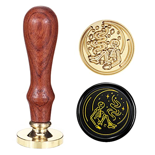 SWANGSA Moon and Skeleton Wax Seal Stamp, Vintage Halloween Wood Stamp Removable Brass Head Sealing Stamp, Great for Decorating Party Invitations Envelopes Gift Packing (Moon and Skeleton)
