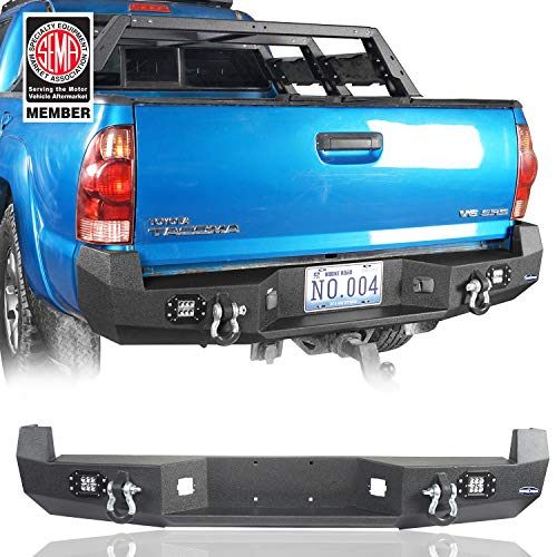 Hooke Road Tacoma Rear Step Bumper w/LED Lights & D-Rings Compatible with Toyota Tacoma 2005-2015 2nd Gen Pickup Truck