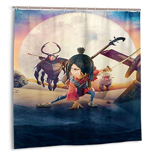 Kubo Two Strings Duschvorhänge für Badezimmer, 72x72 Zoll Polyester beständiger 3D-Druck Wasserdichter Duschvorhang 12 Kunststoffhaken