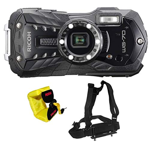 Ricoh WG-70 Waterproof Digital Camera, 2.7' LCD with Optio Floating Wrist Strap and Chest Harness (Black)