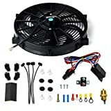 BLACKHORSE-RACING 14' Universal Electric Radiator Cooling Fans + Thermostat Relay & Mount Kit