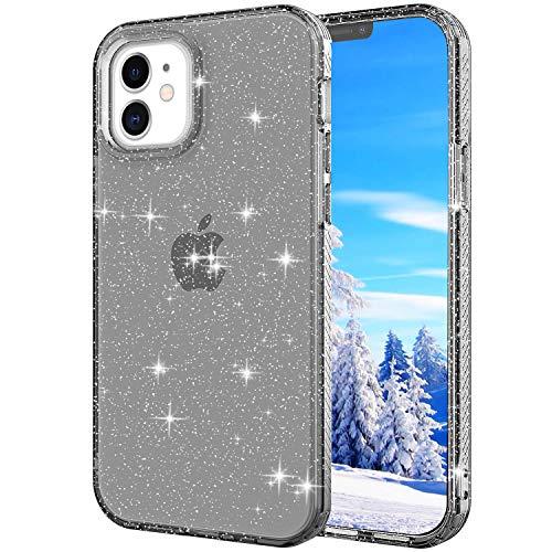 Shinyzone Hülle für iPhone 12/iPhone 12 Pro 6.1 Zoll,Transparent Stoßfest TPU Bumper [Anti-Rutsch] [Anti-Gelb] Original Durchsichtig Ultradünn Schutzhülle für iPhone 12,Glitzer Schwarz