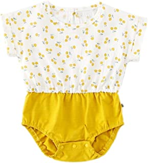 Mornyray Babygirls Adorable Summer Jumpsuit With Cute Cartoon Cherry Pattern Design Kids Casual Playwear Daily Outfit Contrast color Babys Romper Pajamas (0-3T)