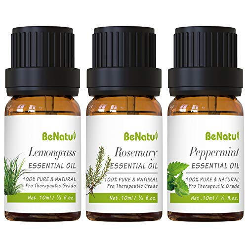 Peppermint Essential Oils Set (with Lemongrass, Rosemary) for Diffuser, Skin Care, Hair Growth - Orangic & Pure Therapeutic Grade Aromatherapy Kit for Home, Soap Making - by Benatu