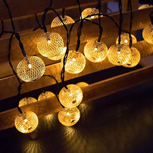 EONANT Catena di luci a energia solare per esterni, in metallo, 20 LED, luce bianca calda, decorazione per la camera da letto, il giardino di nozze (lanterna)