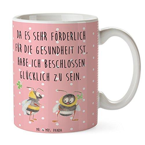 Mr. & Mrs. Panda Frühstück, Kaffeebecher, Tasse Hummeln mit Kleeblatt mit Spruch - Farbe Rot Pastell