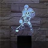 3D Illusion Lampe Nuit Lumière,Gardien De But De Hockey Sur Glace Lampe De Chevet 16 Couleurs...