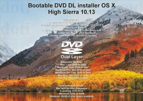 Bootable DVD DL for Mac OS X Full R High 10.13 Sierra Nippon regular agency Manufacturer direct delivery Install