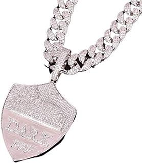 Collana con Pendente a Forma di Scudo ghiacciato con Gioielli Moca Collana in Oro 18 carati con Diamanti Simulati con Diam...