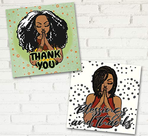 """African American Mahogany Skin Tone Thank You Cards Small Business. 50 Thank You for Your Order Cards. 2 Designs 3"""" x 3"""" inch Mini Thank You for Supporting My Small Business Online Retail Customer Thank You Cards"""